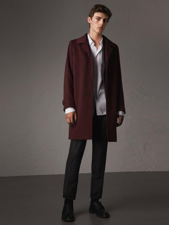 Укороченное пальто из кашемира (Густой Кларет, Меланж)