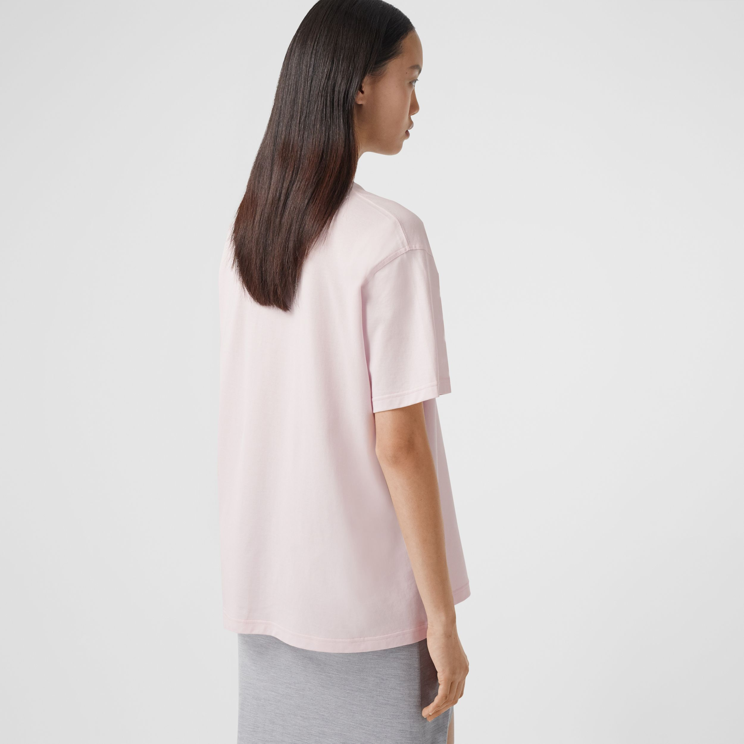 T-shirt oversize en coton avec citation (Rose Pâle) - Femme | Burberry - 3