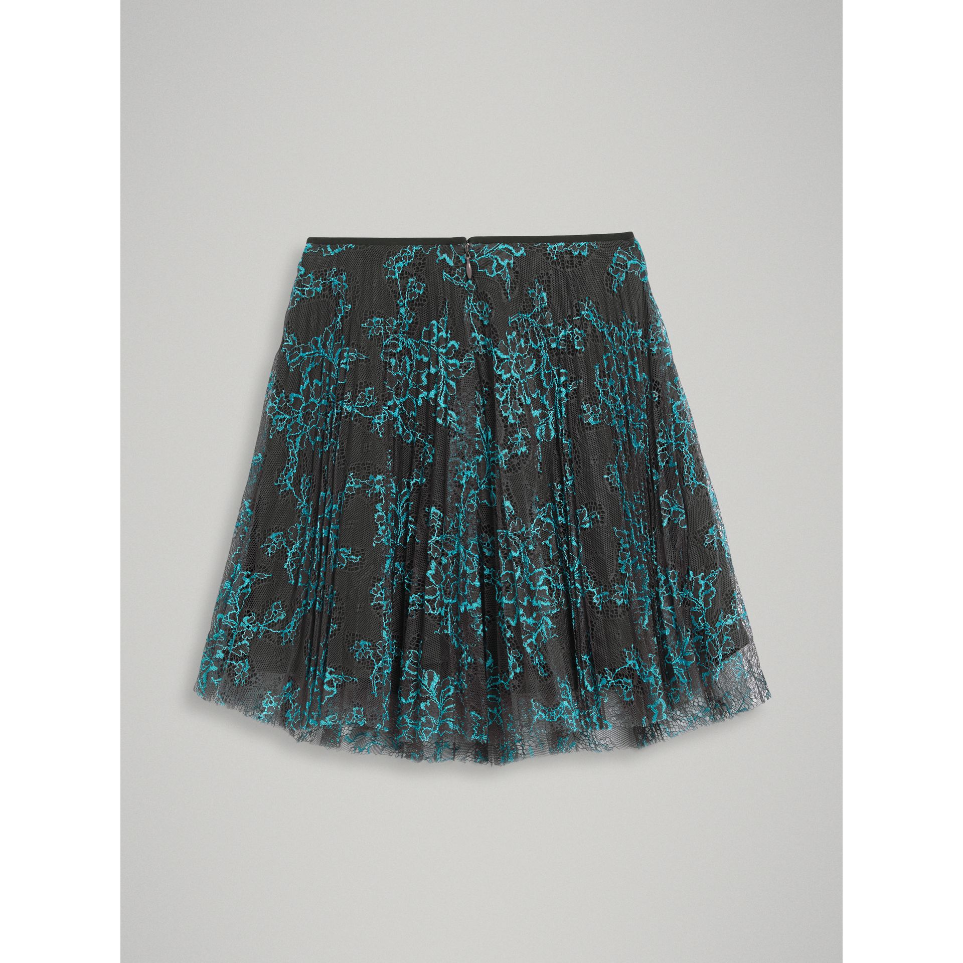 Pleated Lace Skirt in Bright Blue/taupe - Girl | Burberry Australia - gallery image 3