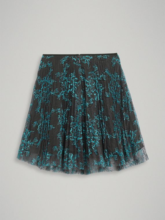 Pleated Lace Skirt in Bright Blue/taupe - Girl | Burberry Singapore - cell image 3