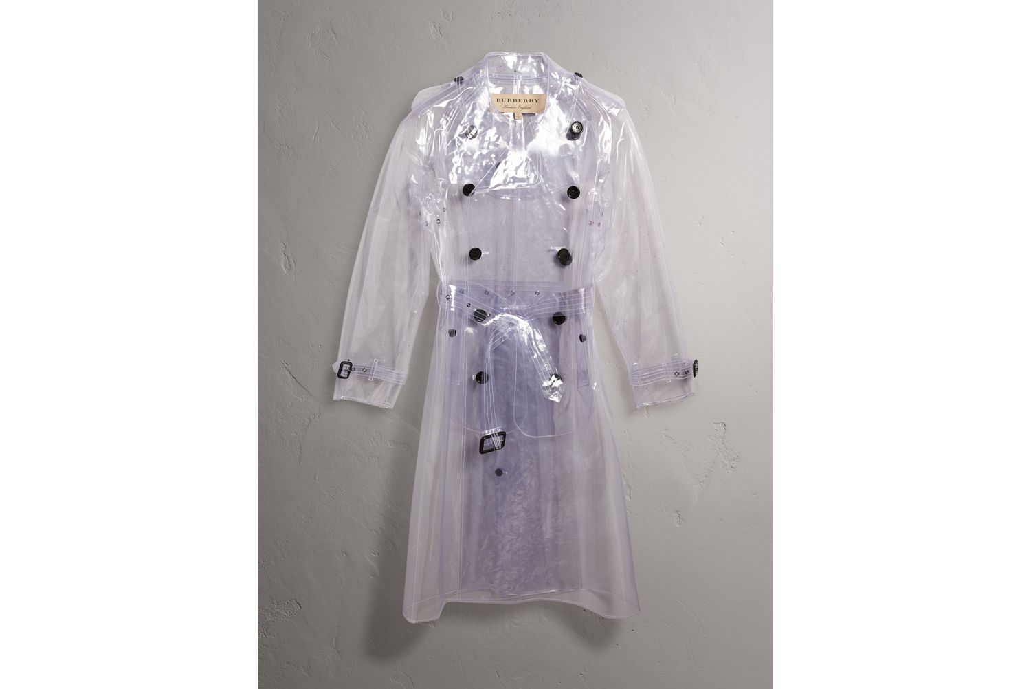 Plastic Trench Coat in Crystal