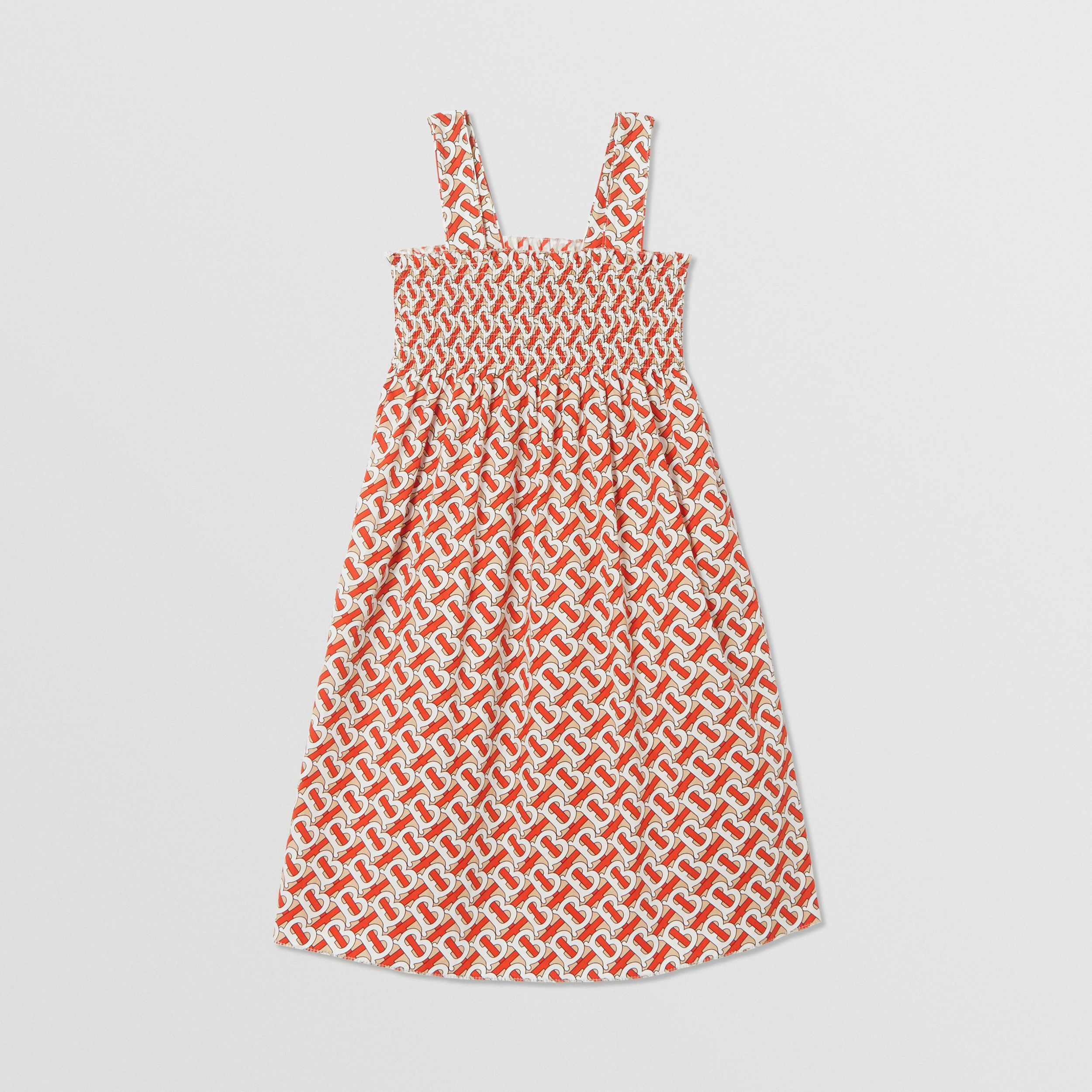Smocked Monogram Print Cotton Poplin Dress in Vermilion Red | Burberry - 1