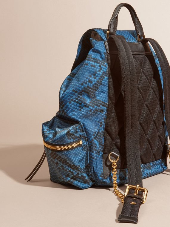 The Medium Rucksack in Python Print Nylon and Leather Blue - cell image 3