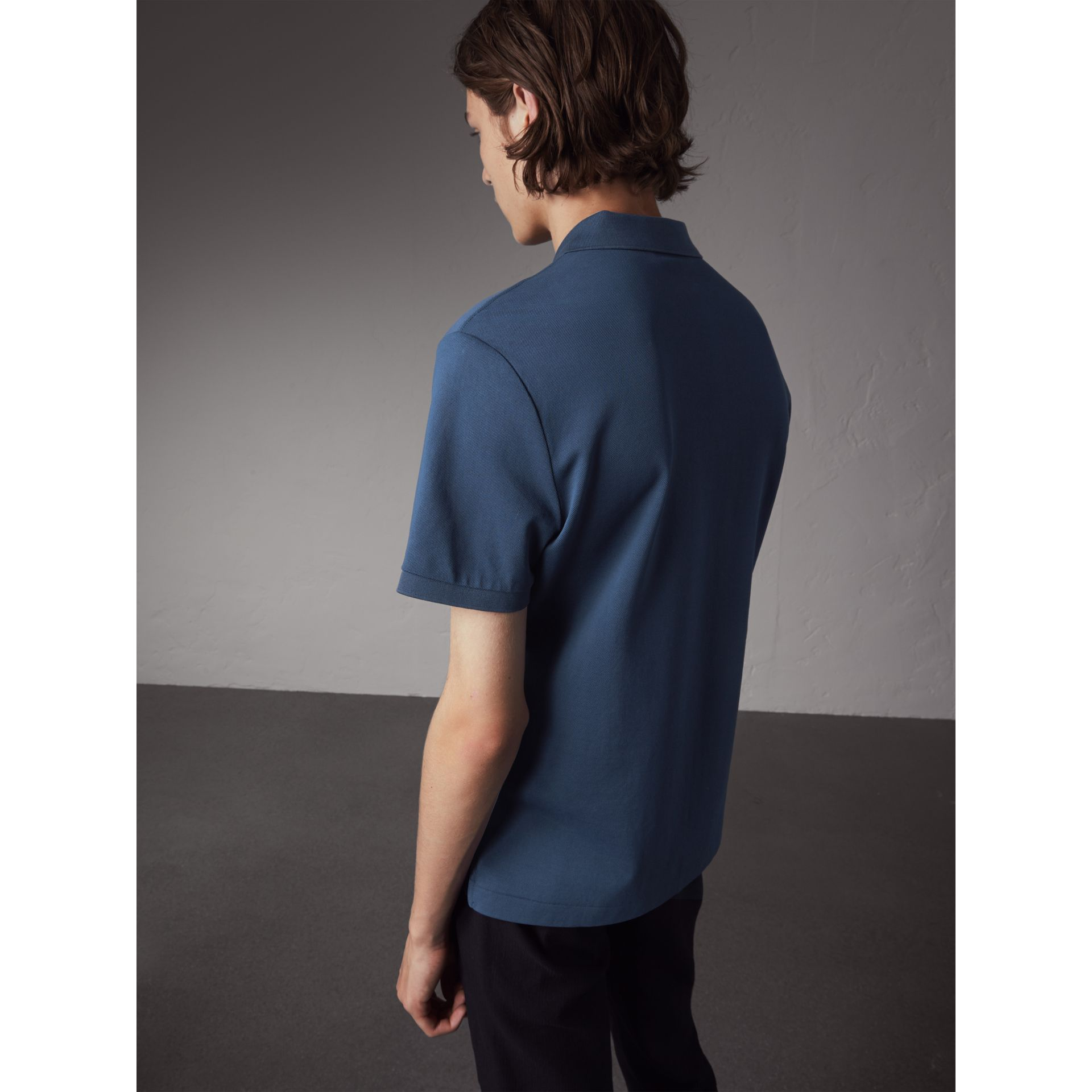 Cotton Piqué Polo Shirt in Steel Blue - Men | Burberry - gallery image 3