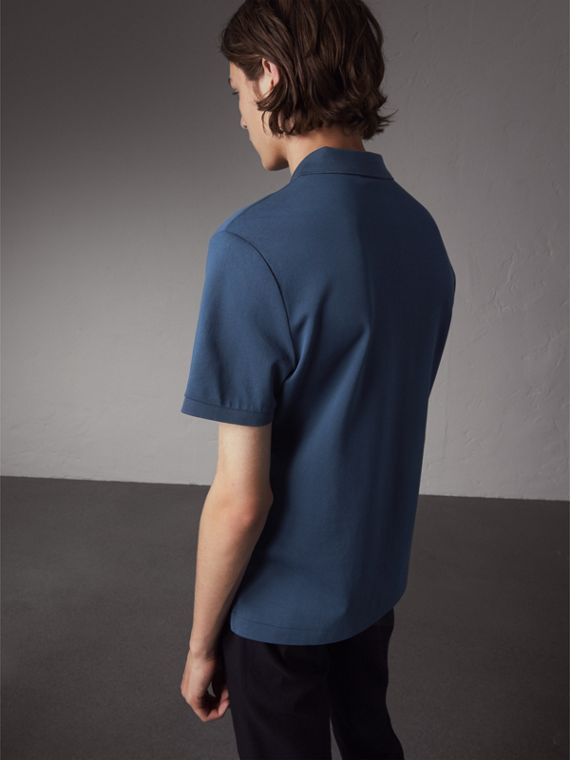 Cotton Piqué Polo Shirt in Steel Blue - Men | Burberry - cell image 2