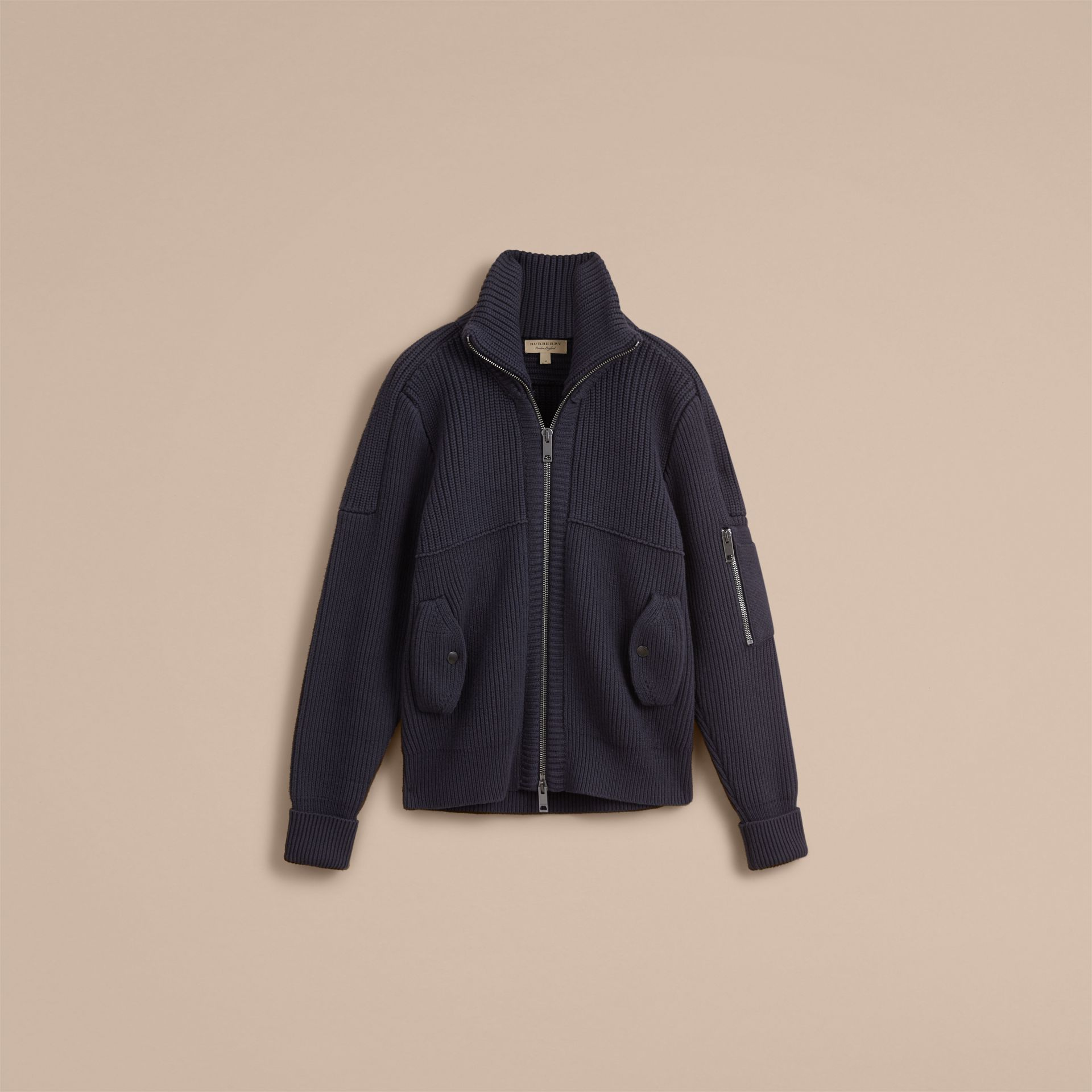 Knitted Cotton Cashmere Flight Jacket in Navy - Men | Burberry Australia - gallery image 4