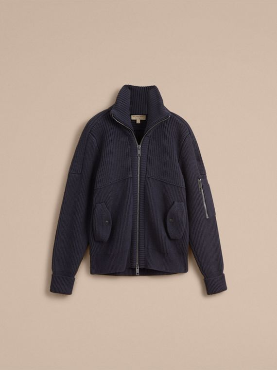 Knitted Cotton Cashmere Flight Jacket in Navy - Men | Burberry - cell image 3