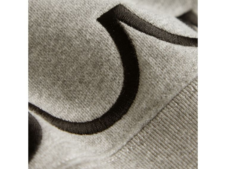 Scallop Detail Cotton Jersey Sweatshirt in Grey Melange - Girl | Burberry - cell image 1
