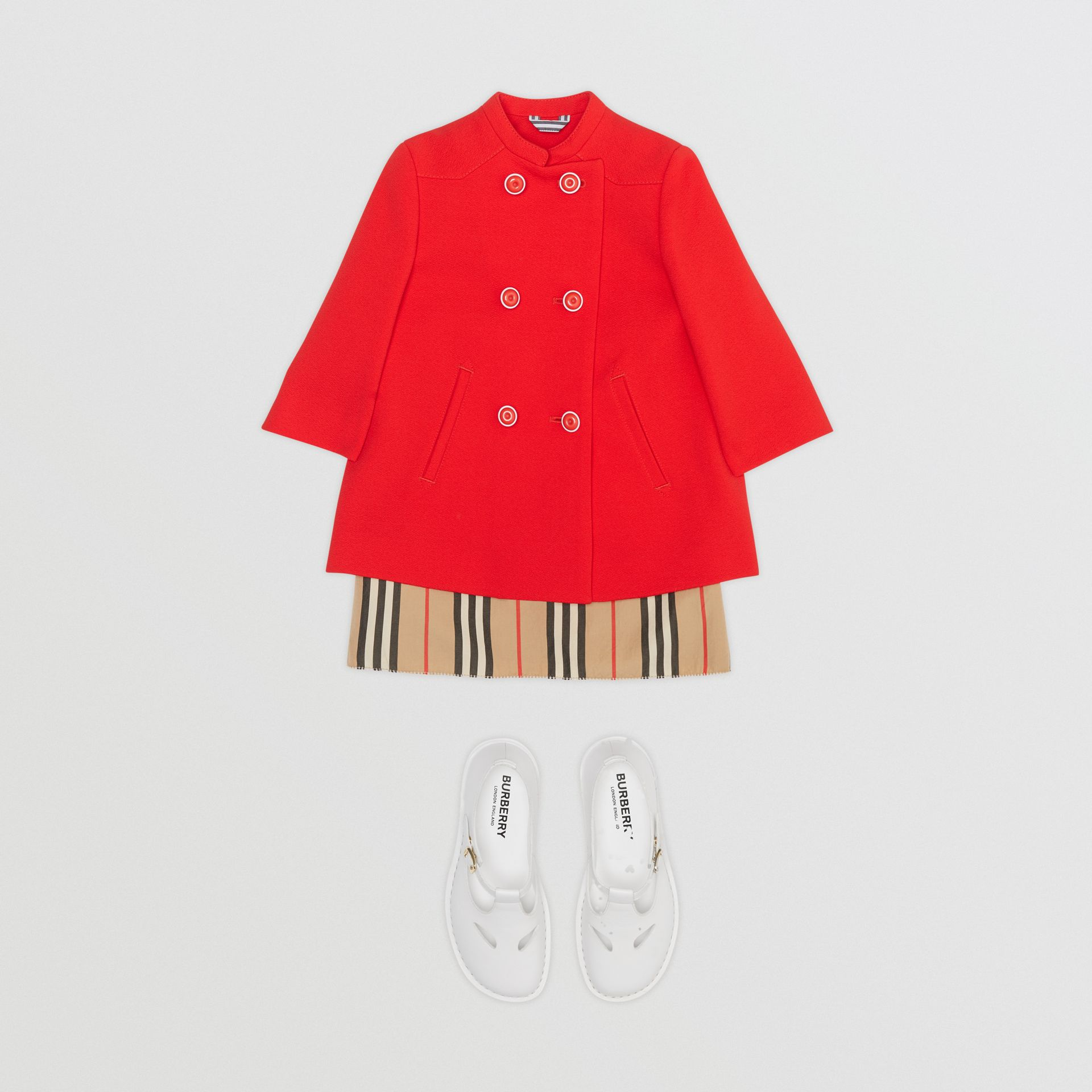 Crepe Jersey Swing Coat in Bright Red - Children | Burberry - gallery image 2