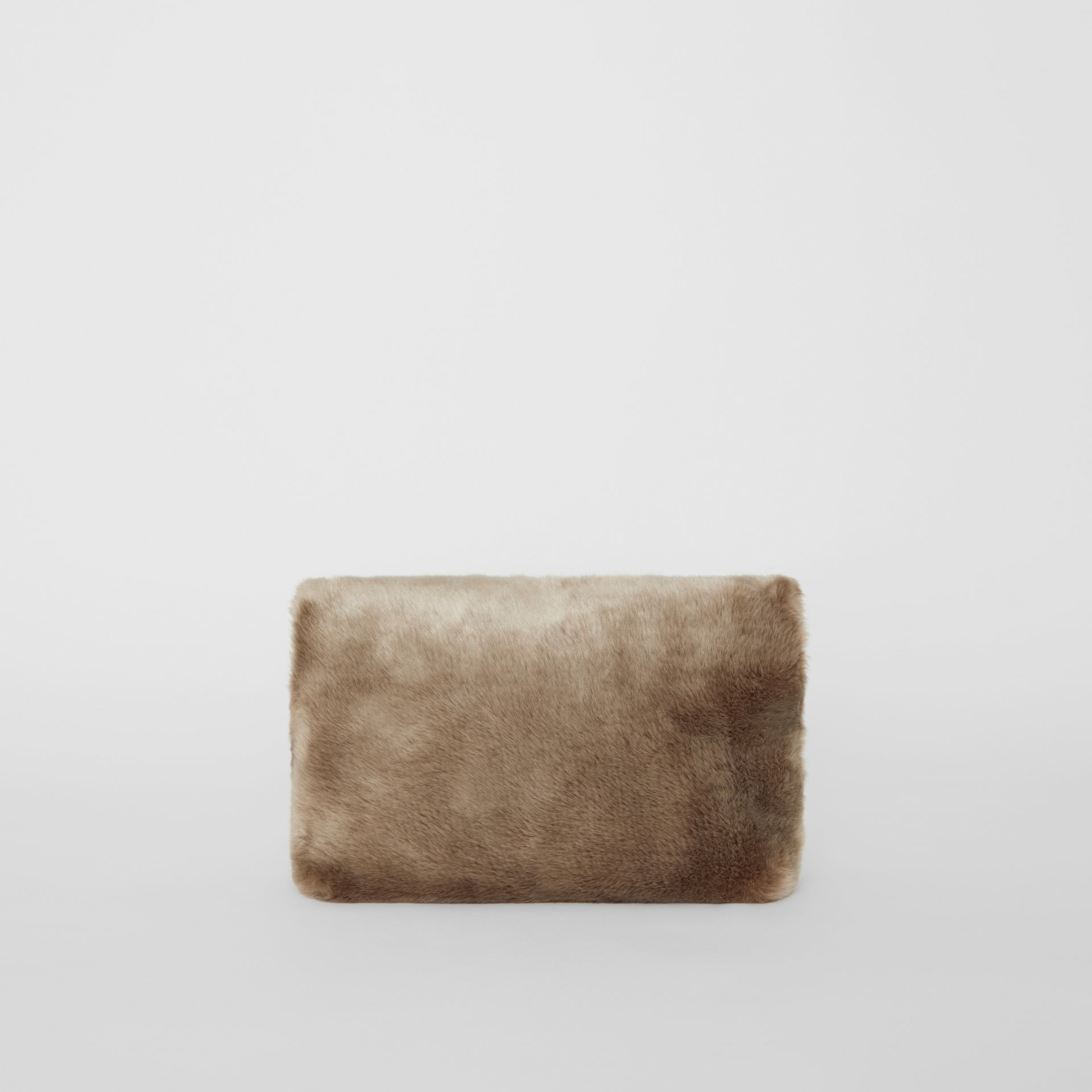 The Medium Pin Clutch in Faux Fur in Light Grey - Women | Burberry - gallery image 7