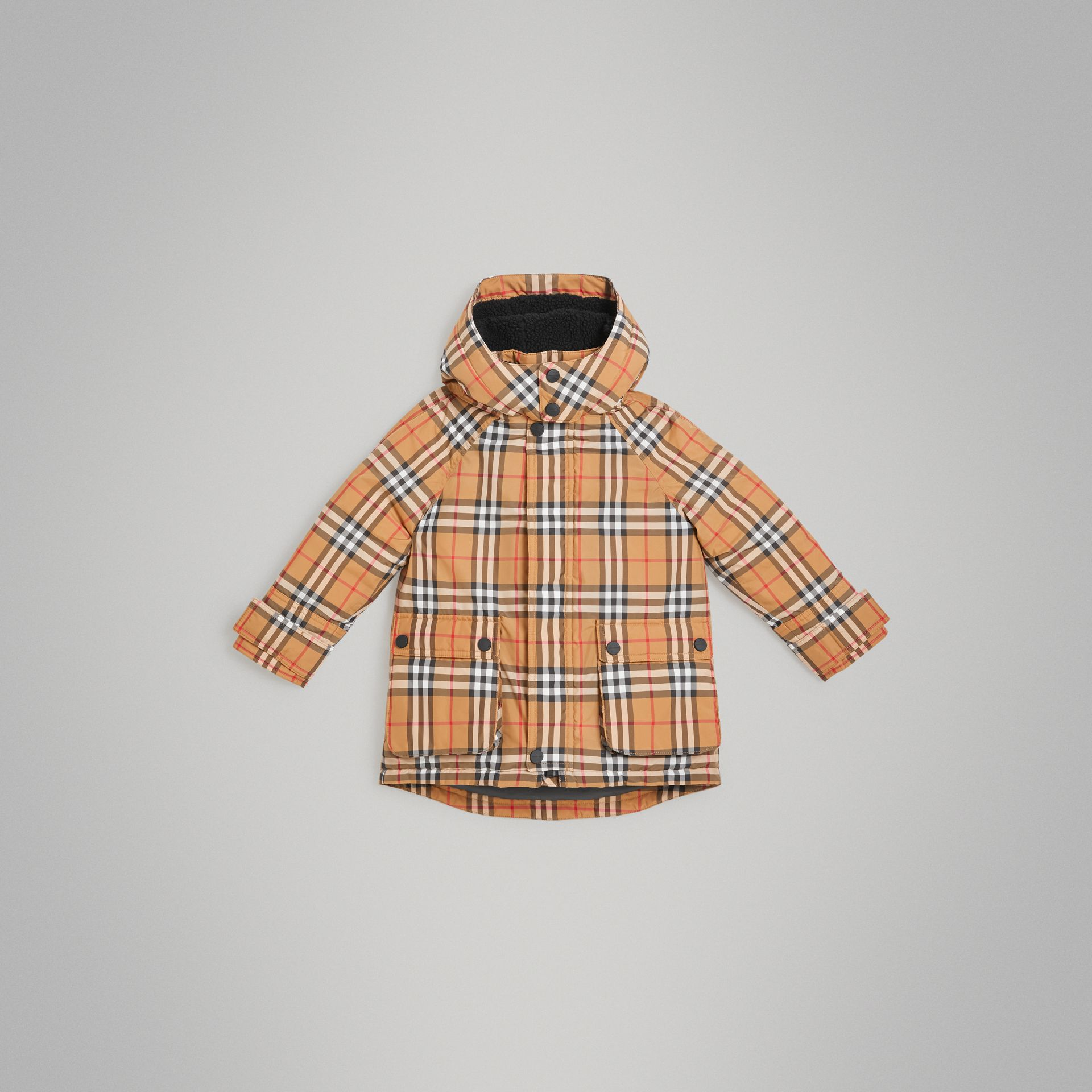 Vintage Check Down-filled Hooded Puffer Jacket in Antique Yellow | Burberry Canada - gallery image 0