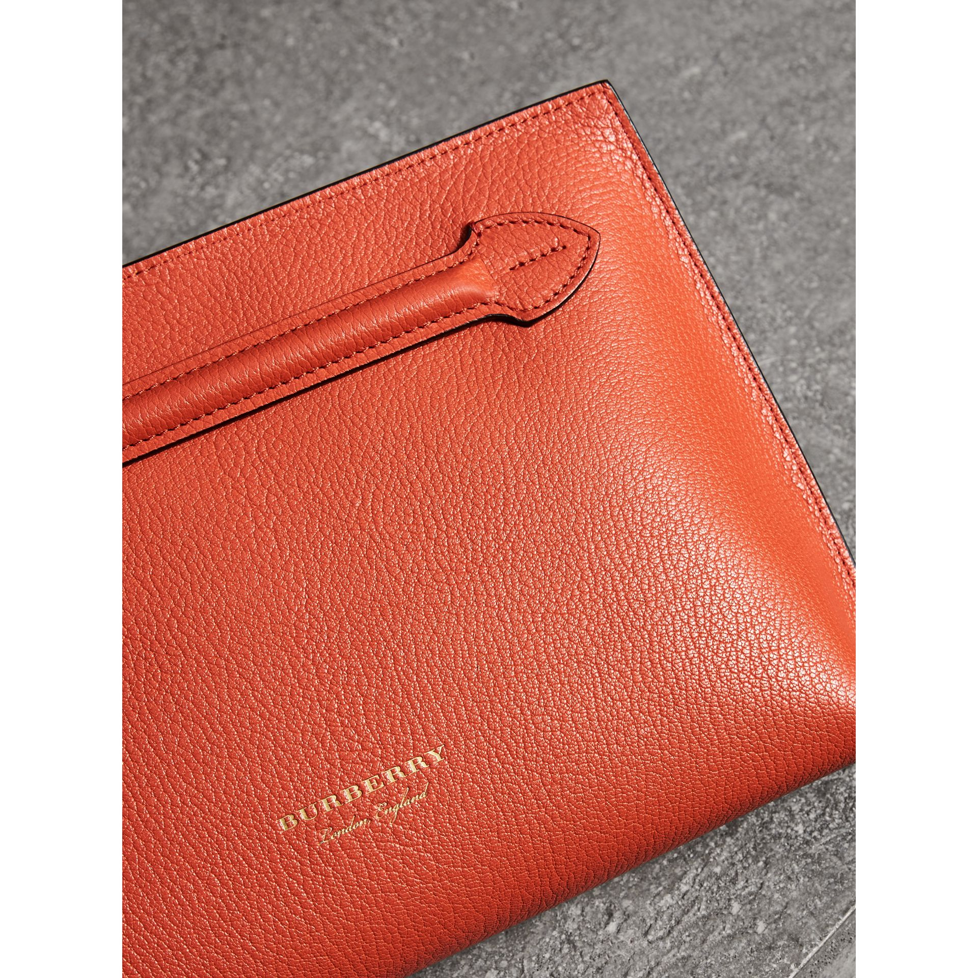 Grainy Leather Wristlet Clutch in Clementine - Women | Burberry Singapore - gallery image 1