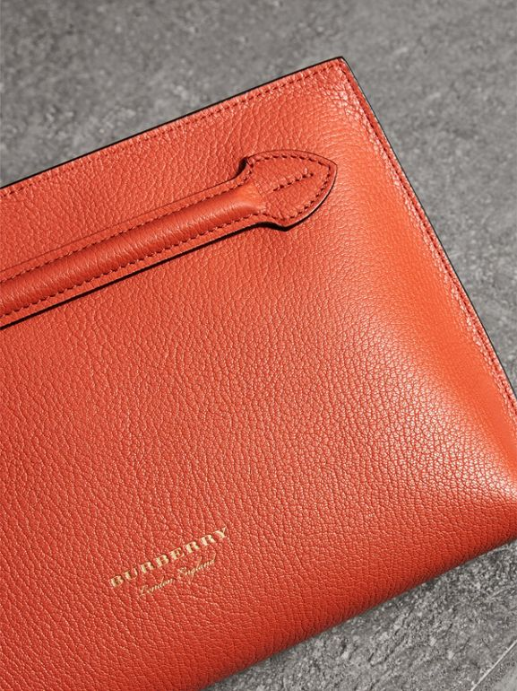Grainy Leather Wristlet Clutch in Clementine - Women | Burberry United Kingdom - cell image 1