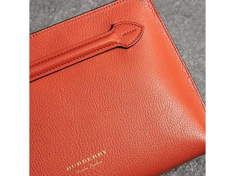 Grainy Leather Wristlet Clutch in Clementine - Women | Burberry Australia - cell image 1