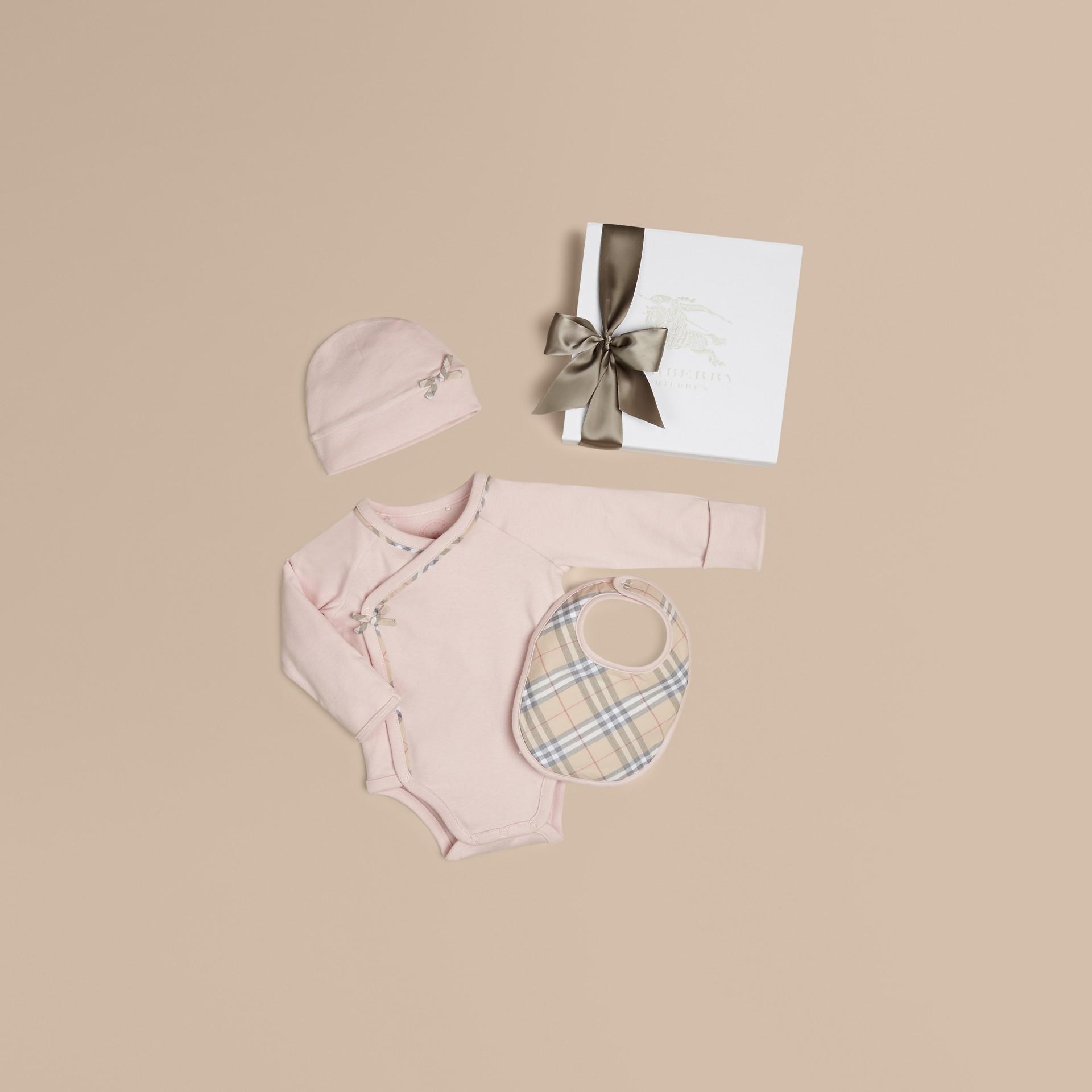 Powder pink Check Cotton Three-piece Baby Gift Set Powder Pink - gallery image 1