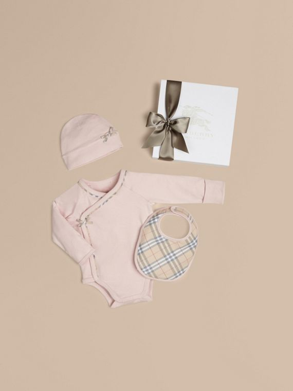 Check Cotton Three-piece Baby Gift Set Powder Pink