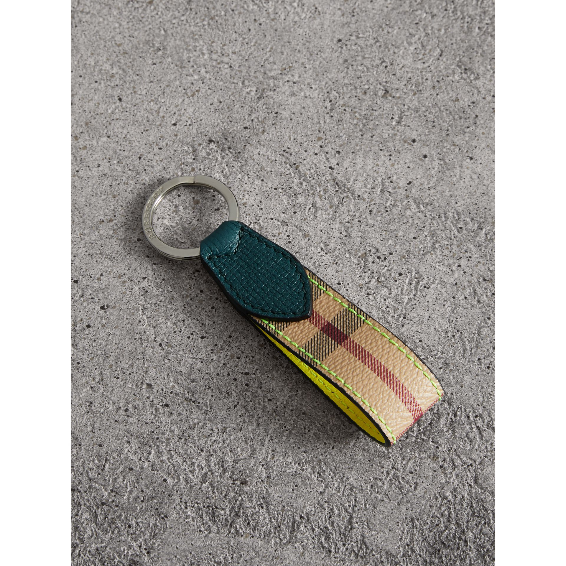 Haymarket Check and Two-tone Leather Key Ring in Bright Yellow - Men | Burberry - gallery image 0