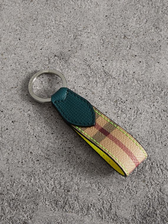 Haymarket Check and Two-tone Leather Key Ring in Bright Yellow