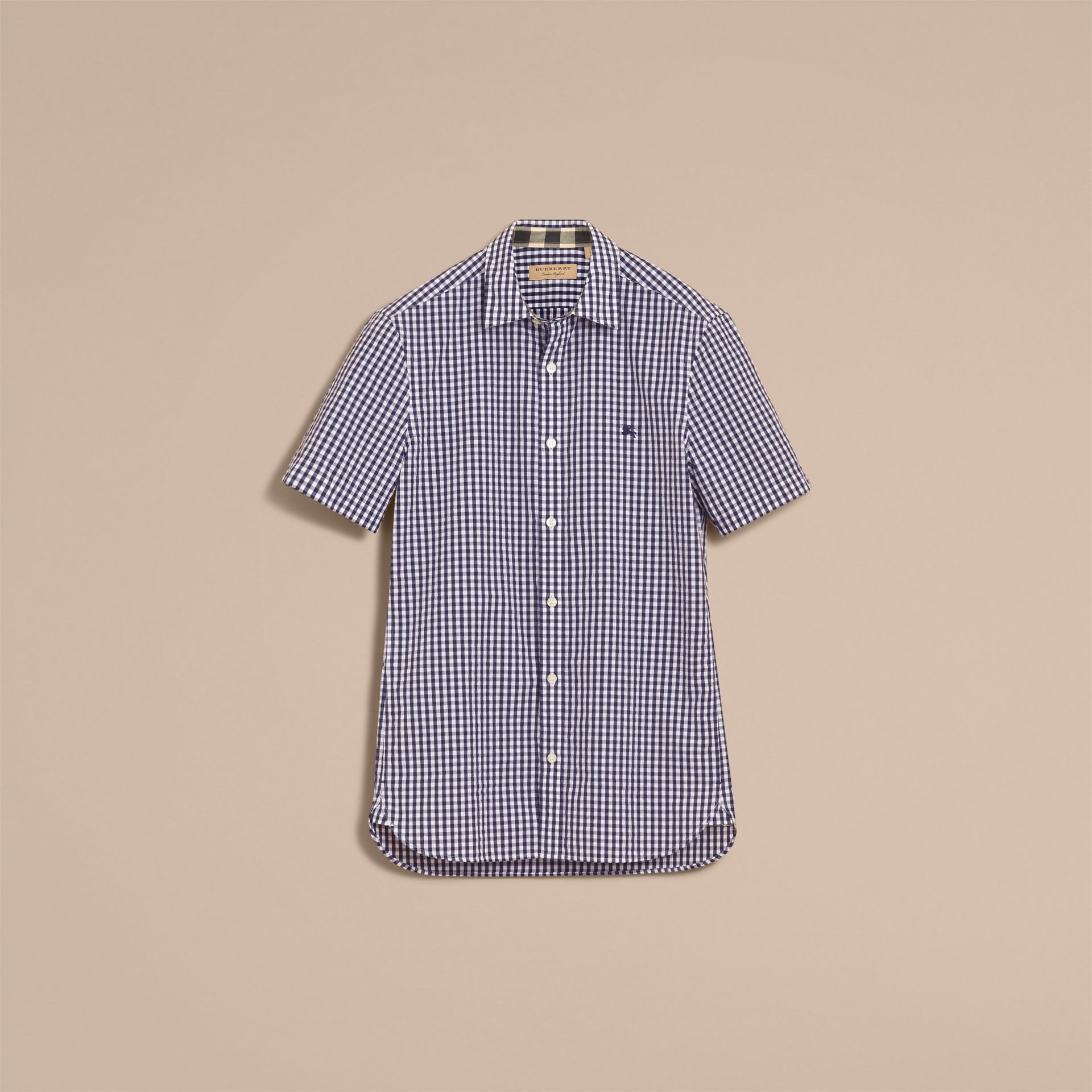 Short-sleeved Gingham Cotton Poplin Shirt in Ink Blue - Men | Burberry - gallery image 4