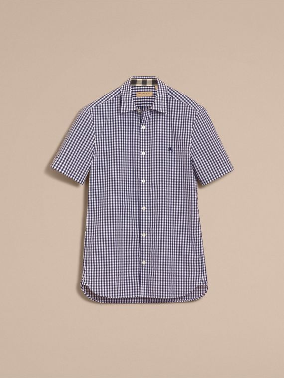 Short-sleeved Gingham Cotton Poplin Shirt in Ink Blue - Men | Burberry - cell image 3