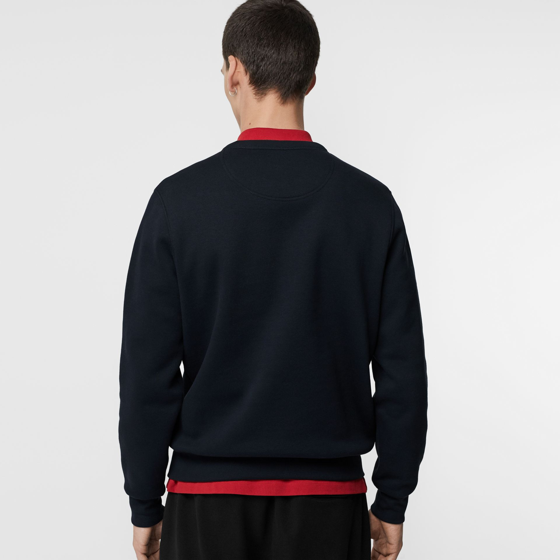 Embroidered Crest Jersey Sweatshirt in Navy - Men | Burberry - gallery image 2