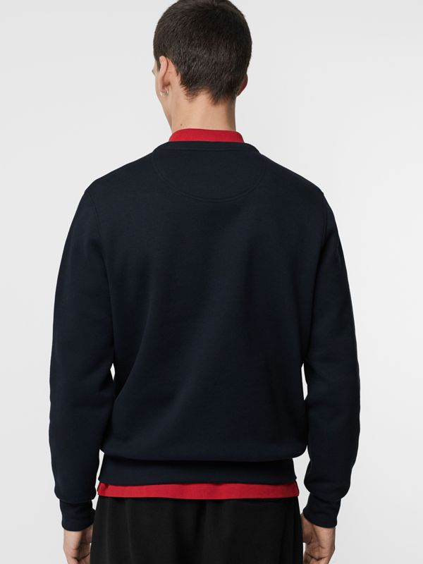 Embroidered Crest Jersey Sweatshirt in Navy - Men | Burberry Australia - cell image 2
