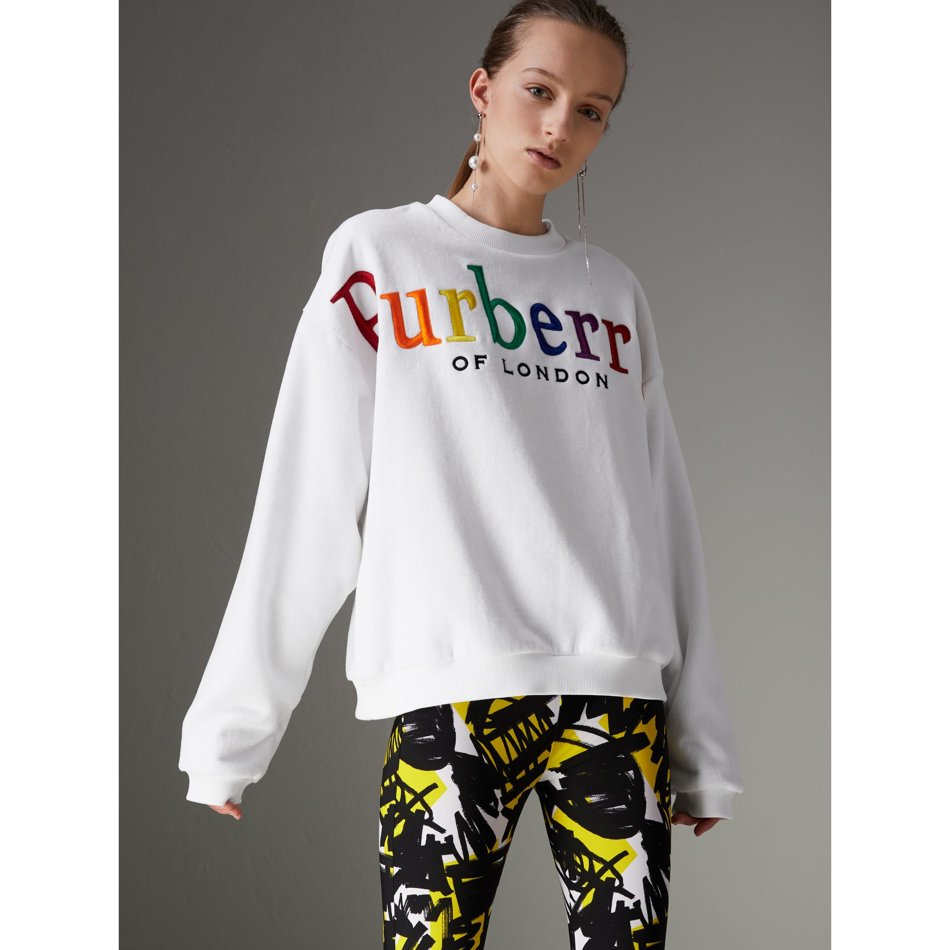 Archive Logo Towelling Sweatshirt in White - Women | Burberry - gallery image 5
