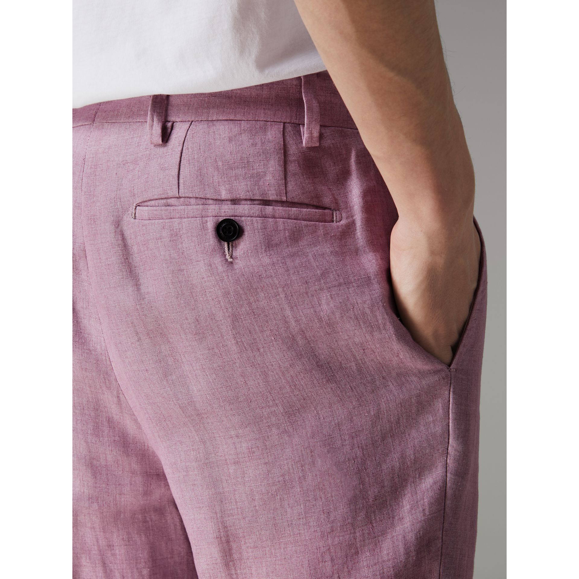 Soho Fit Linen Trousers in Pink Heather - Men | Burberry - gallery image 1