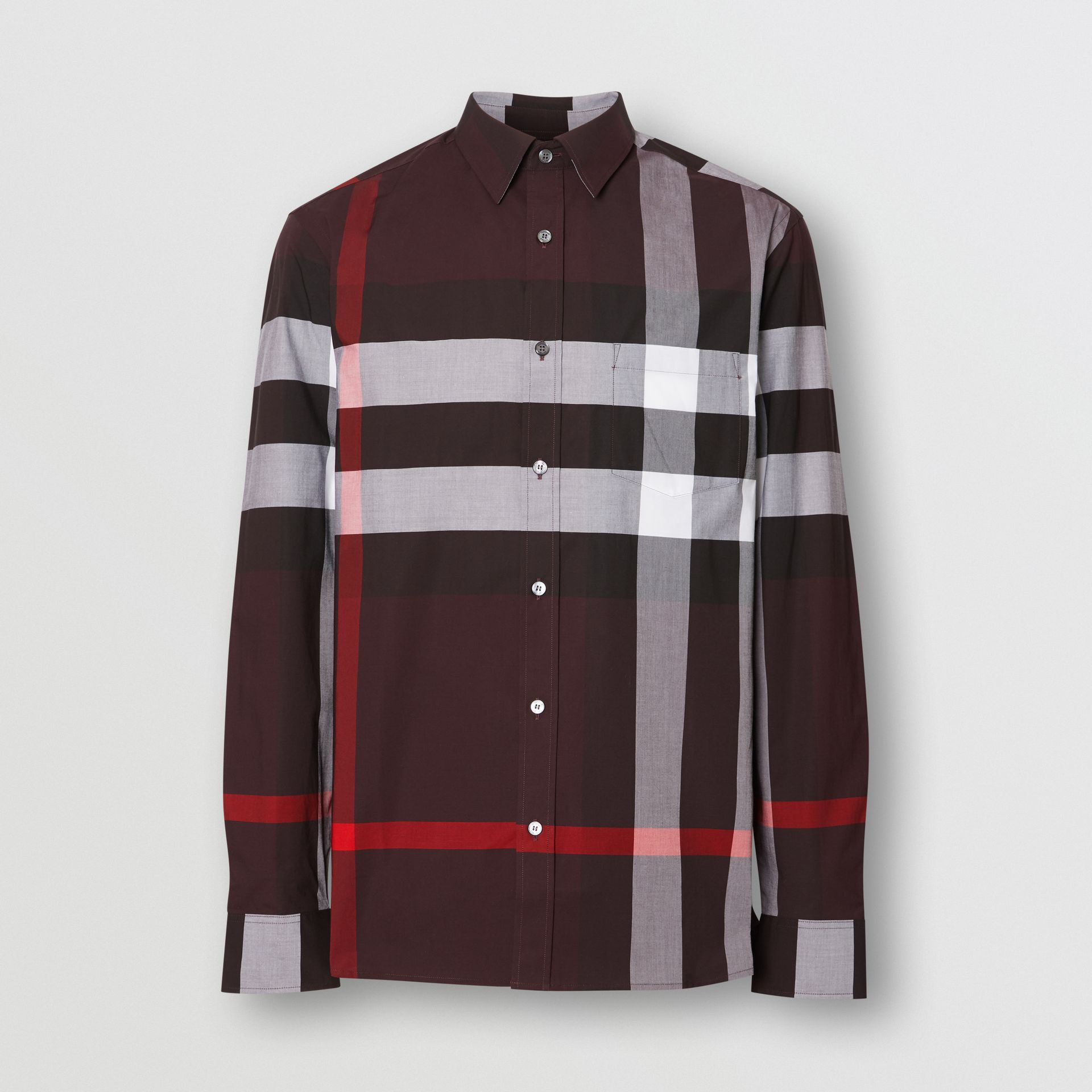 Check Stretch Cotton Shirt in Deep Claret - Men | Burberry United Kingdom - gallery image 3