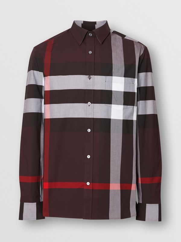 Check Stretch Cotton Shirt in Deep Claret - Men | Burberry - cell image 3