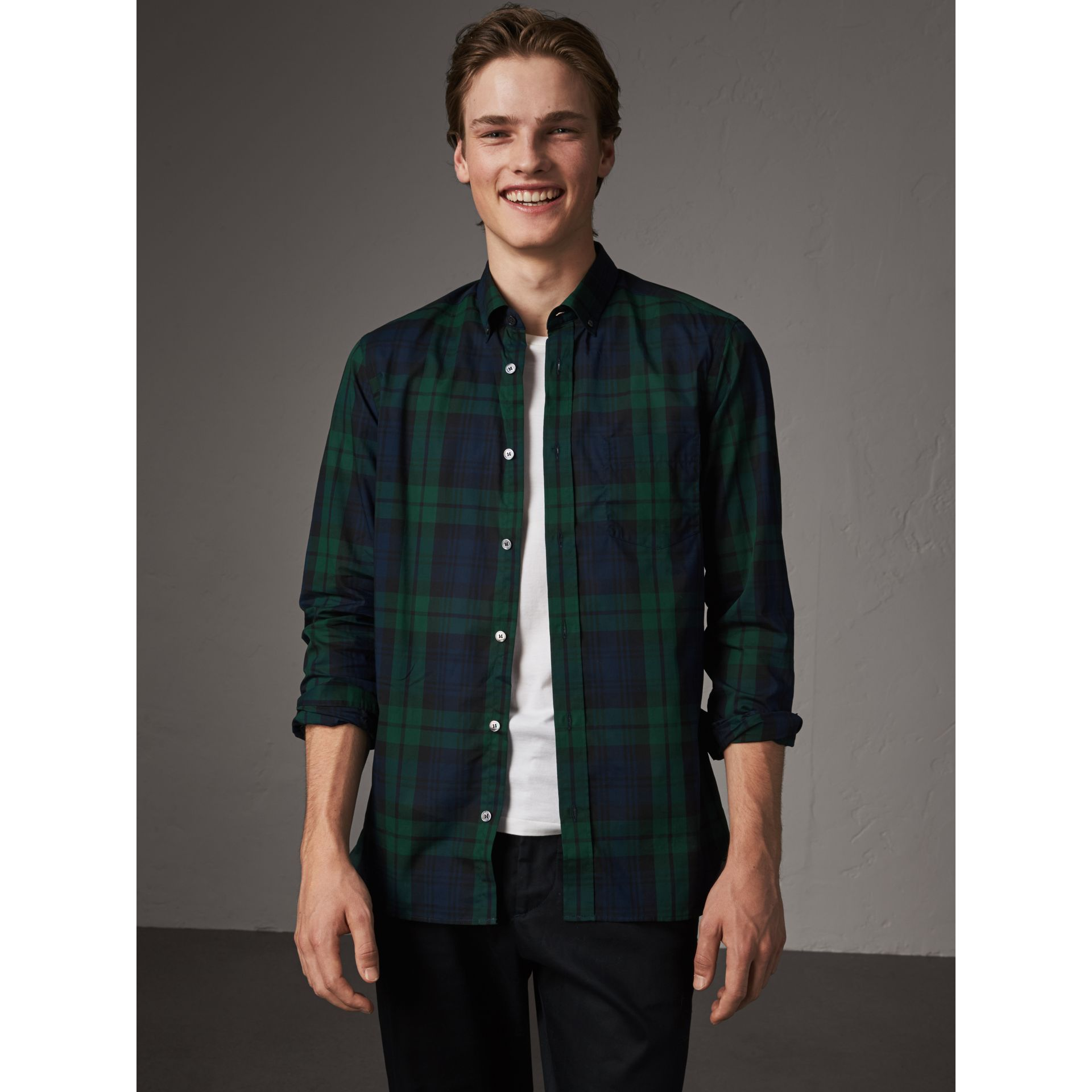 Check Cotton Shirt in Navy - Men | Burberry Australia - gallery image 0