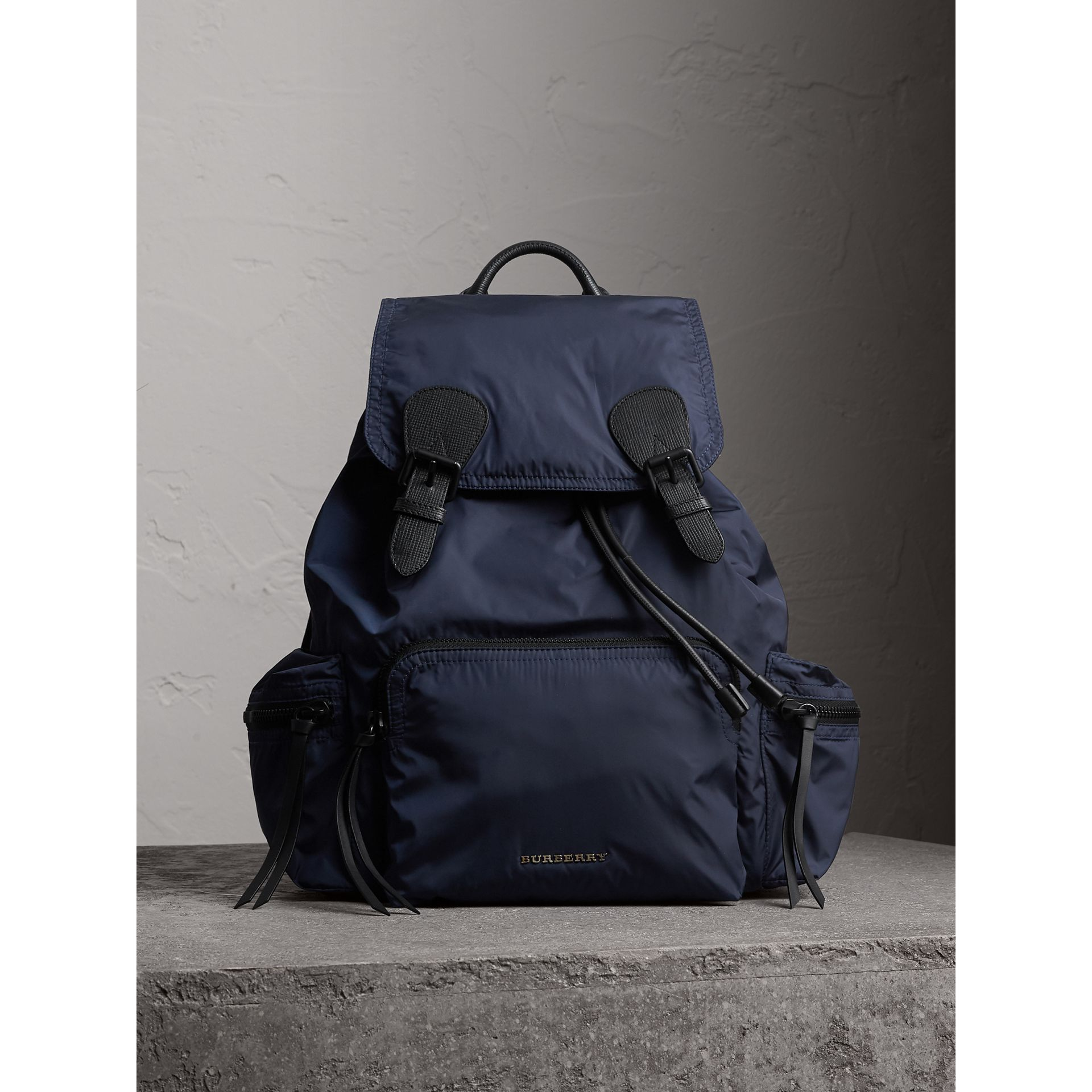 The Large Rucksack in Technical Nylon and Leather in Ink Blue - Men | Burberry United States - gallery image 5