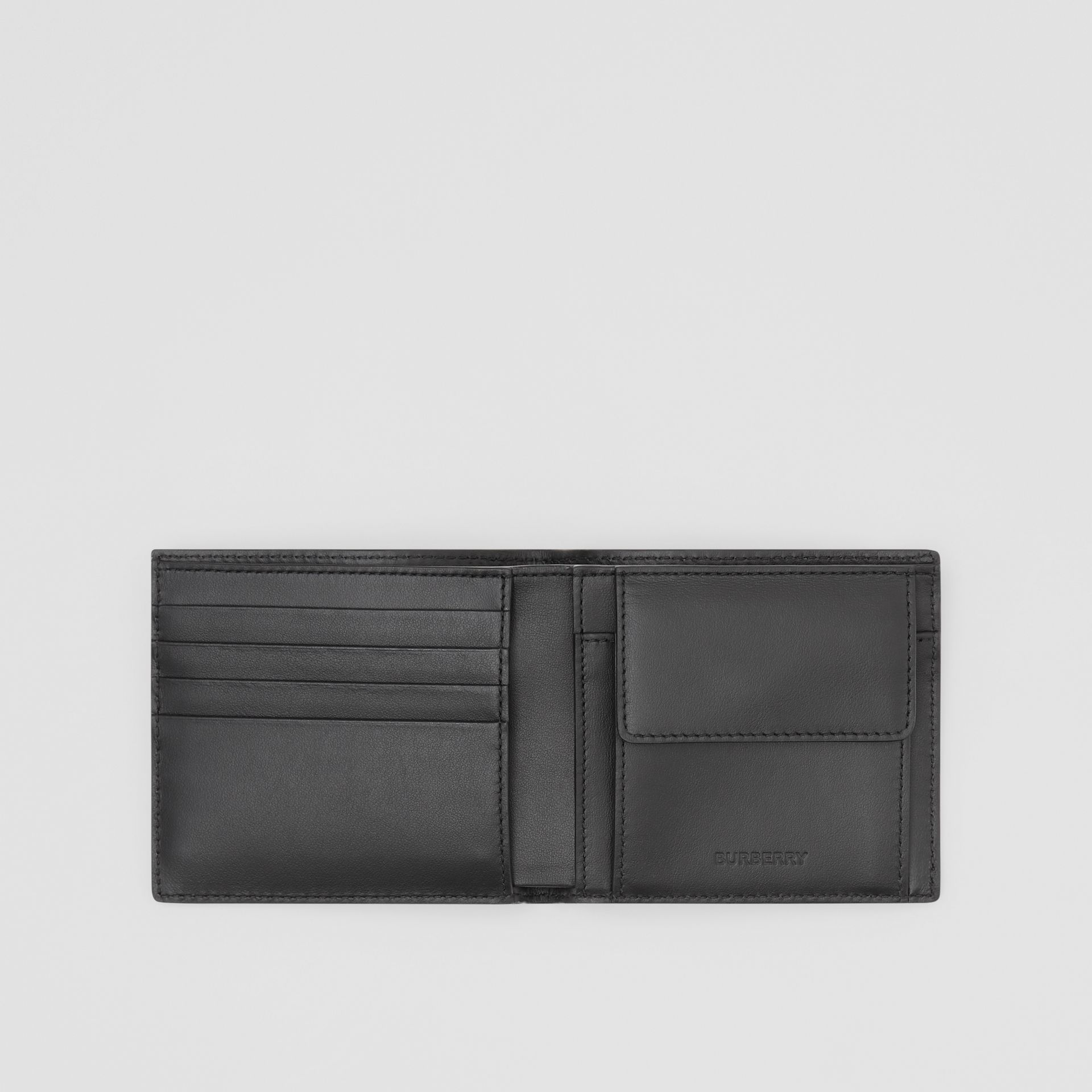 Logo Print Leather International Bifold Coin Wallet in Black | Burberry Australia - gallery image 2