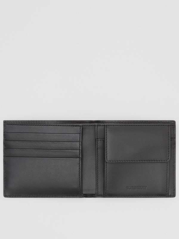 Logo Print Leather International Bifold Coin Wallet in Black | Burberry Australia - cell image 2