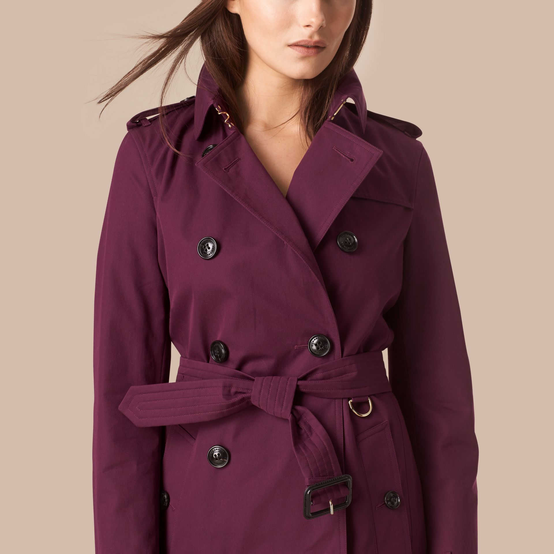 Bright burgundy Lightweight Cotton Gabardine Trench Coat - gallery image 4