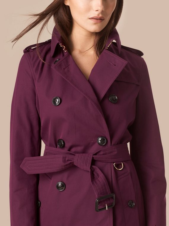 Bright burgundy Lightweight Cotton Gabardine Trench Coat - cell image 3