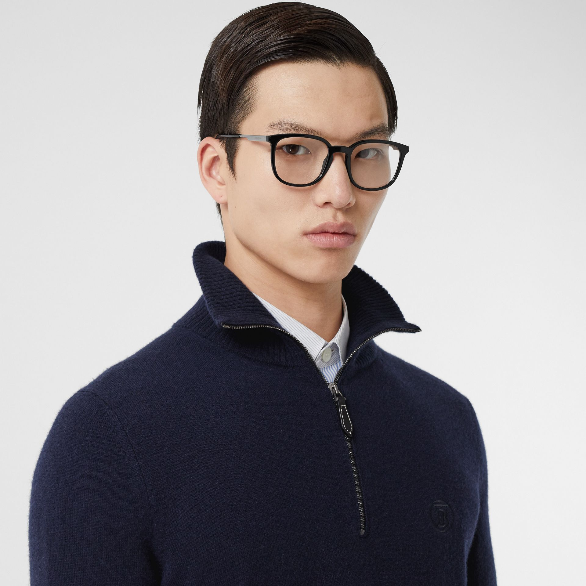 Monogram Motif Cashmere Funnel Neck Sweater in Navy - Men | Burberry Hong Kong S.A.R - gallery image 1