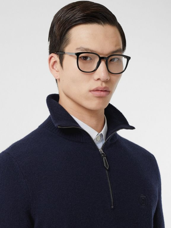 Monogram Motif Cashmere Funnel Neck Sweater in Navy - Men | Burberry Hong Kong S.A.R - cell image 1