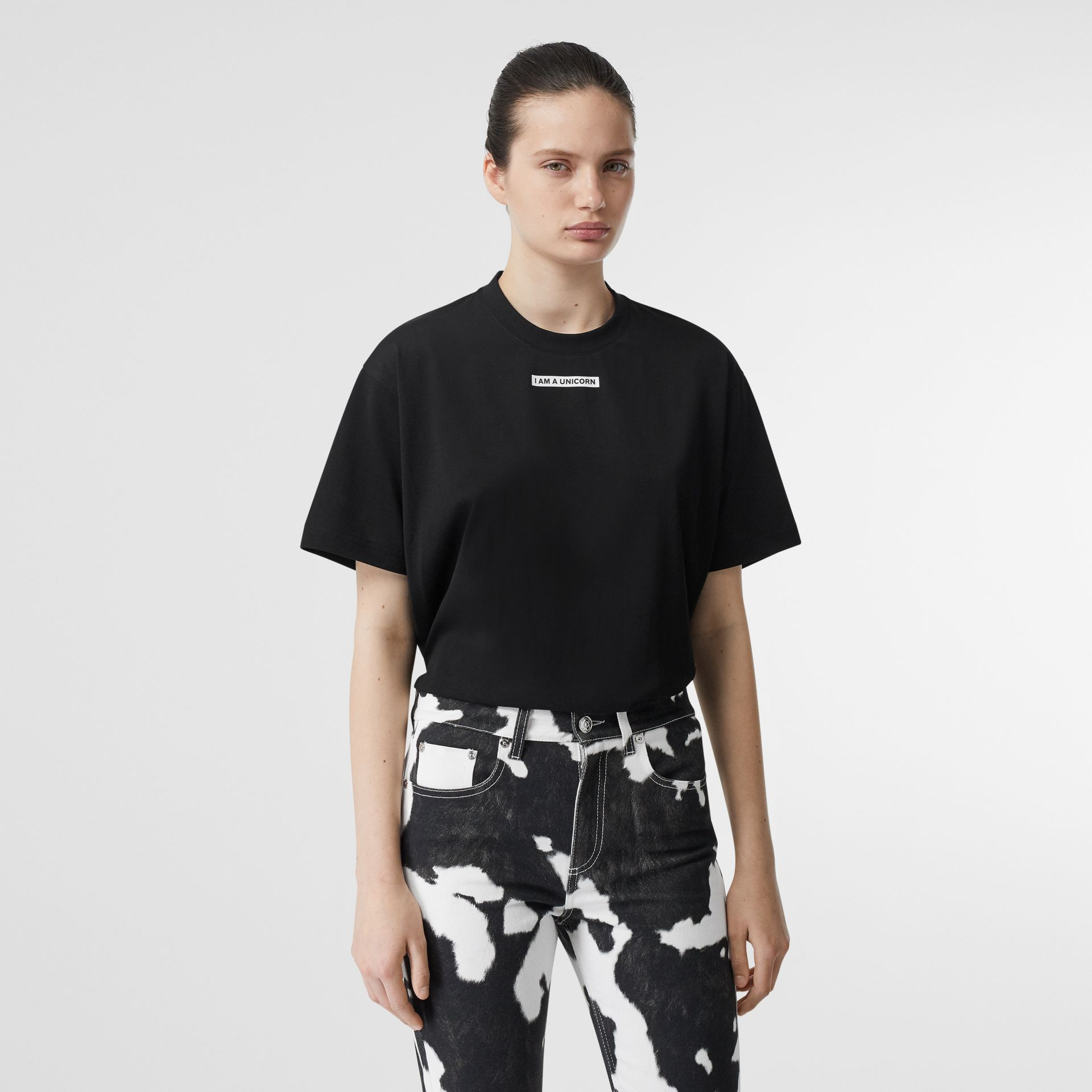 Unicorn Print Cotton Oversized T-shirt in Black - Women | Burberry - gallery image 0