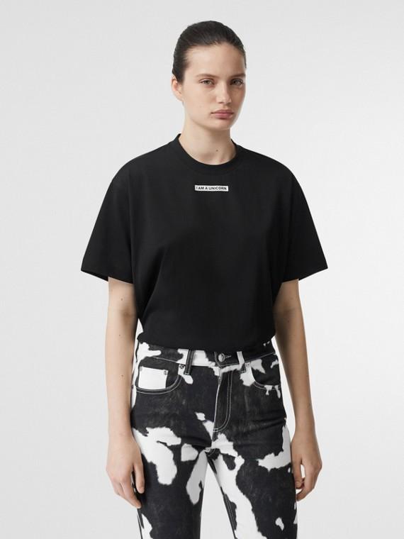 ユニコーンプリント コットン オーバーサイズTシャツ (ブラック)