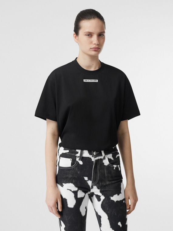 Unicorn Print Cotton Oversized T-shirt in Black