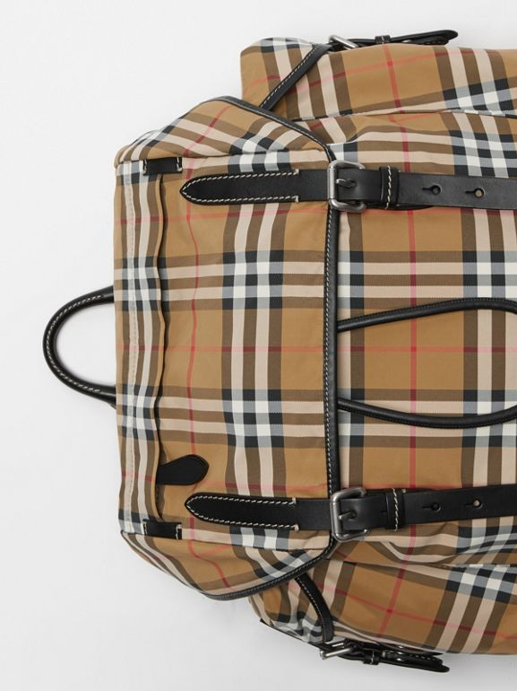 Vintage Check and Leather Backpack in Antique Yellow - Men | Burberry Hong Kong S.A.R - cell image 1