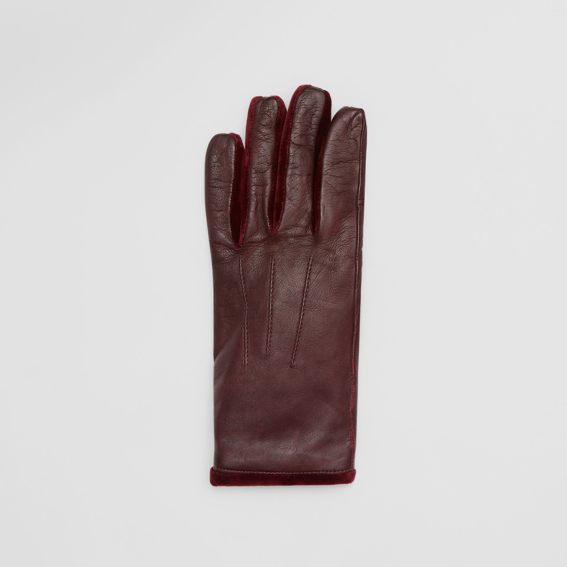 Cashmere-lined Lambskin and Velvet Gloves in Burgundy | Burberry - gallery image 2