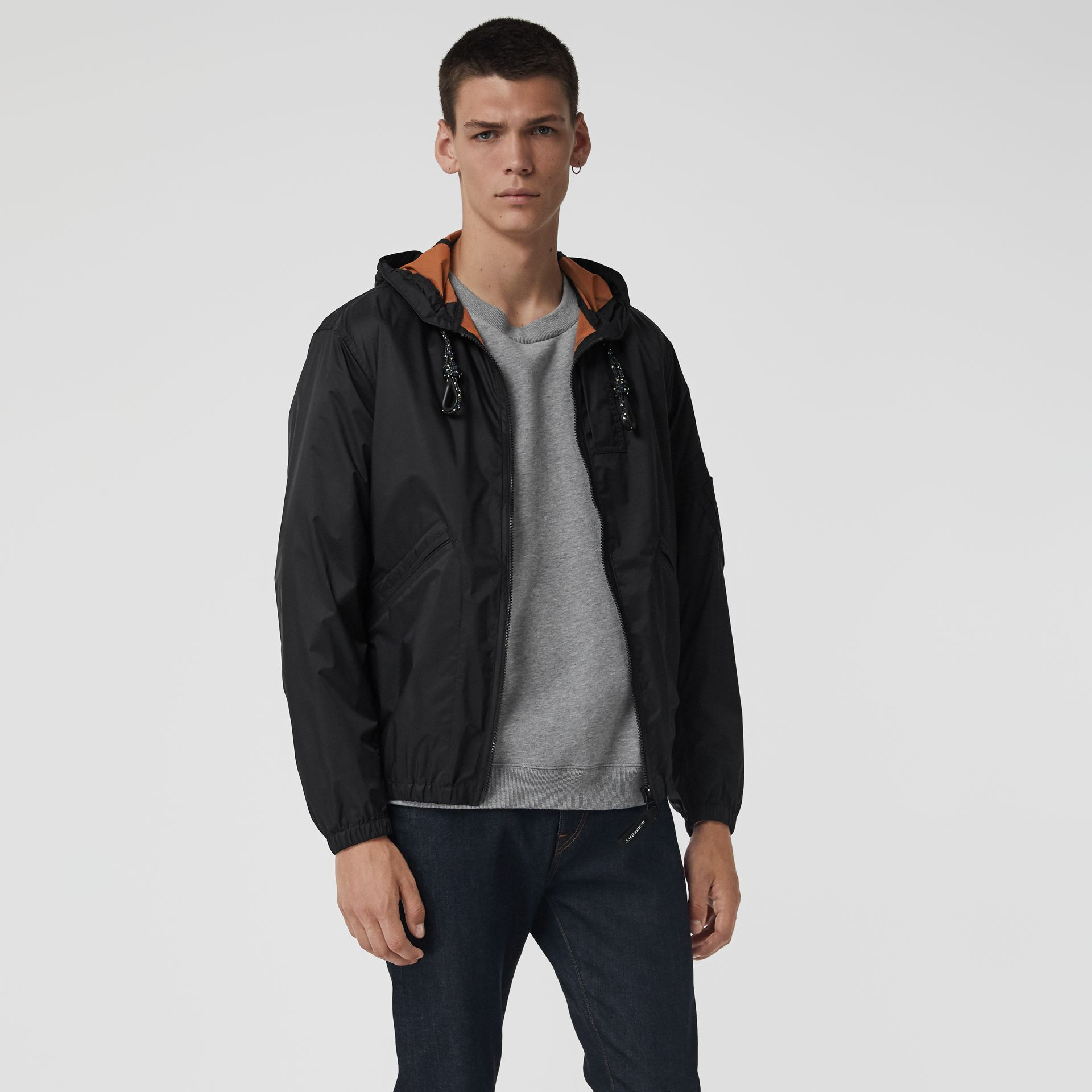 Flyweight Nylon Hooded Bomber Jacket in Black - Men | Burberry - gallery image 5