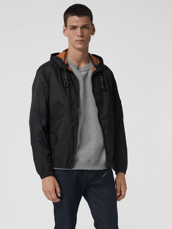 Flyweight Nylon Hooded Bomber Jacket in Black