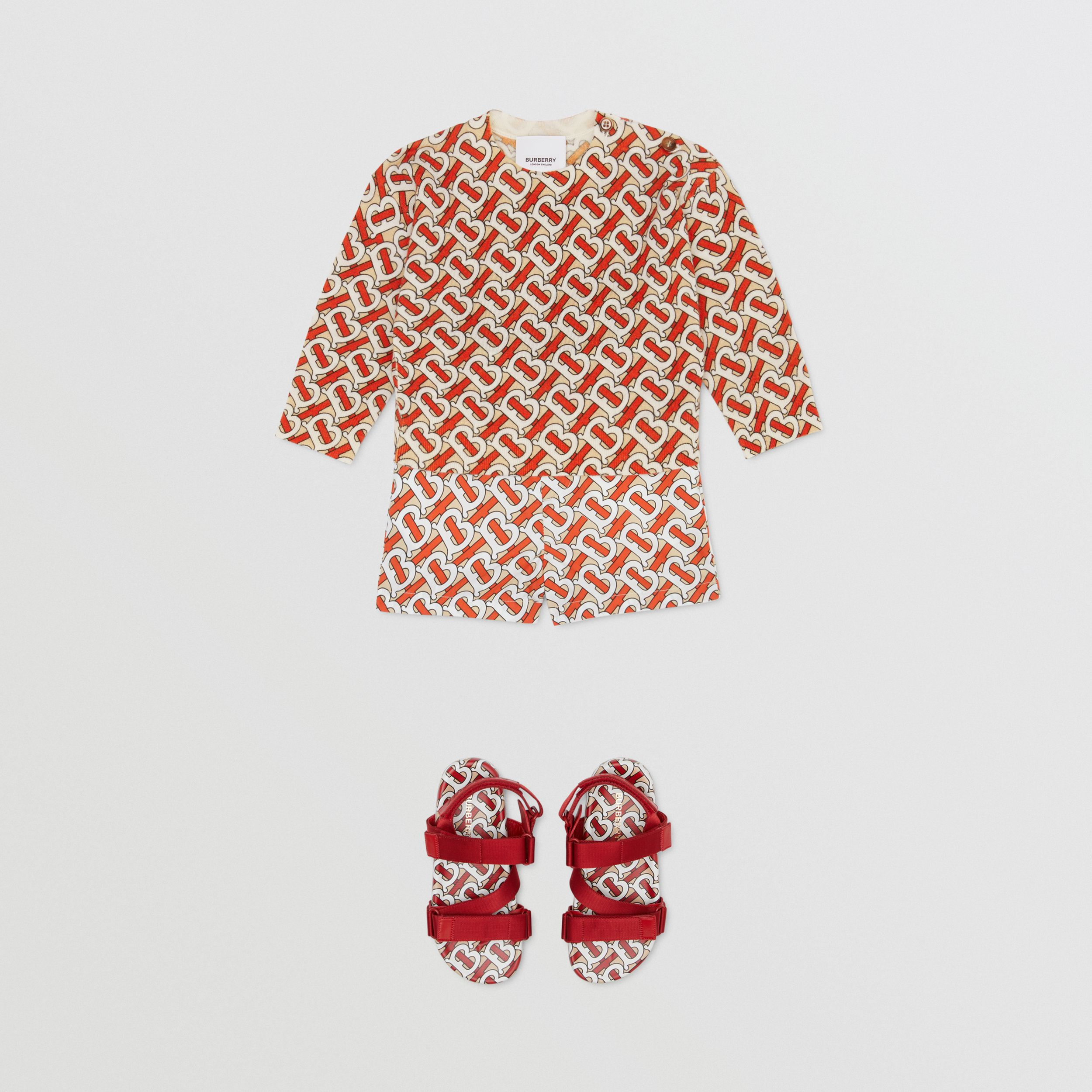 Monogram Print Merino Wool Sweater in Vermilion Red - Children | Burberry - 3