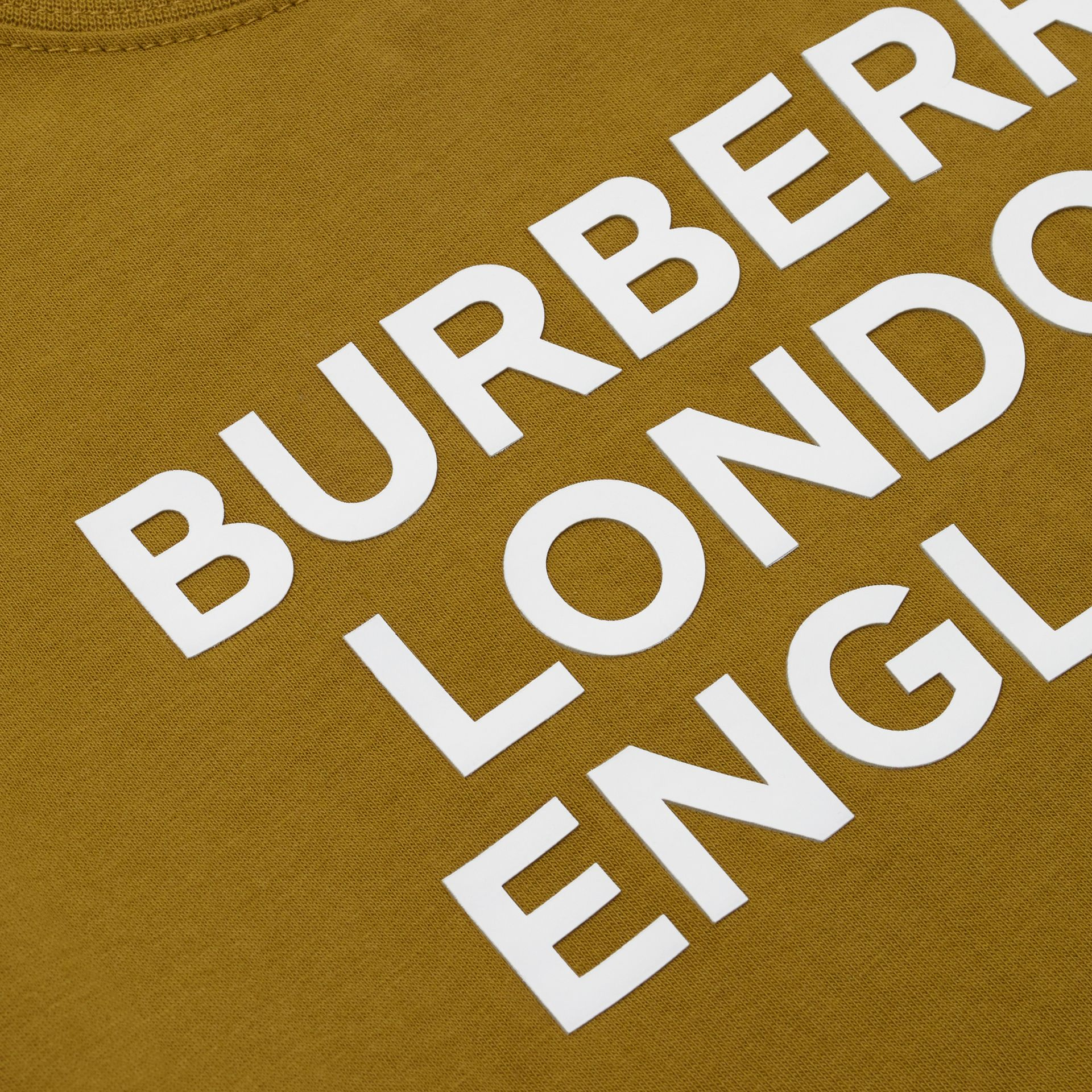 Logo Print Cotton T-shirt in Olive | Burberry United Kingdom - gallery image 1
