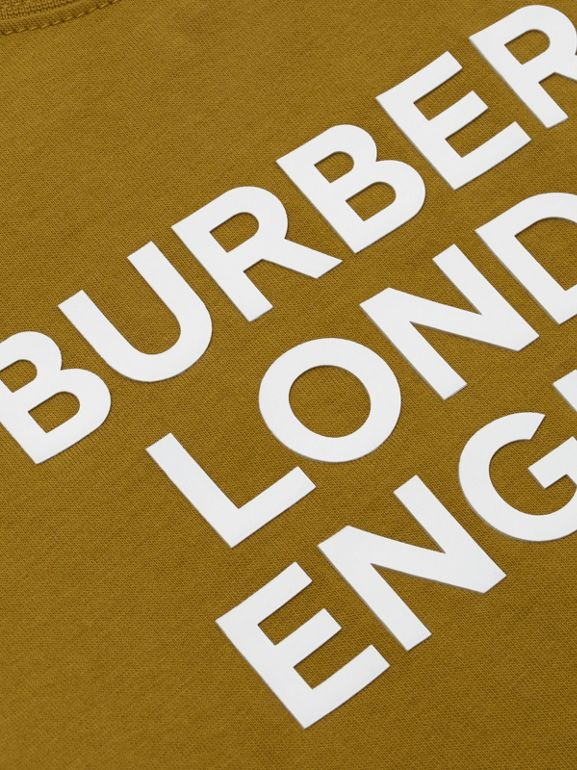 Logo Print Cotton T-shirt in Olive | Burberry United Kingdom - cell image 1