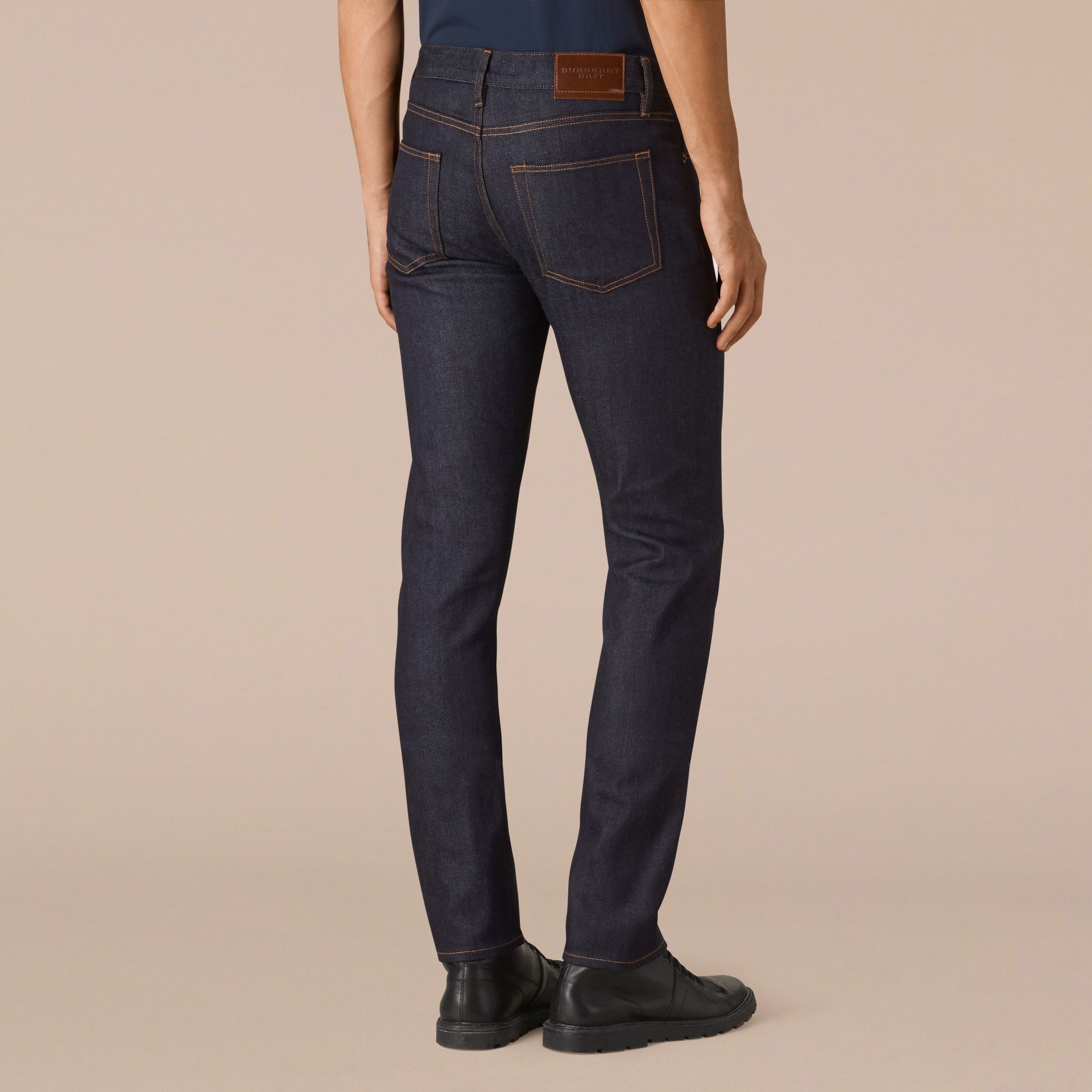 Dark indigo Slim Fit Stretch Japanese Selvedge Jeans - gallery image 3