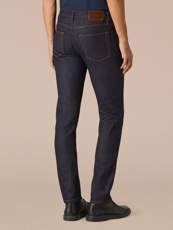 Dark indigo Slim Fit Stretch Japanese Selvedge Jeans - cell image 2